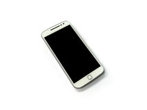 White mobile phone on white background Stock Images