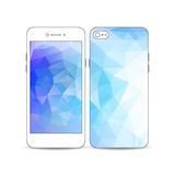 White mobile smartphone with an example of the screen and cover design. Abstract colorful polygonal background, modern Royalty Free Stock Photography