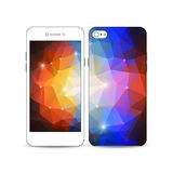 White mobile smartphone with an example of the screen and cover design. Abstract colorful polygonal , modern stylish Royalty Free Stock Photo
