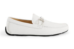 White moccasin. A white modern moccasin isolated on white Royalty Free Stock Photo