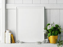 White mock up frame, hipster background, Royalty Free Stock Photos