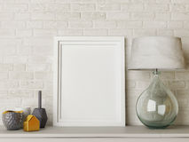 White mock up frame, hipster background. Stock Images