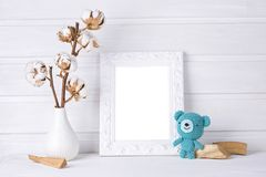 White mock up frame. Children room Stock Photo