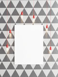 White mock up poster on black and white wall geometric pattern, Stock Photos
