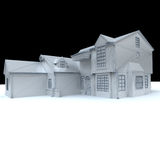 White model house with black background Stock Photo
