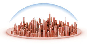 White model mockup of a city with a glass dome Royalty Free Stock Photo