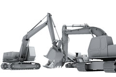 White models of the diggers Royalty Free Stock Photo