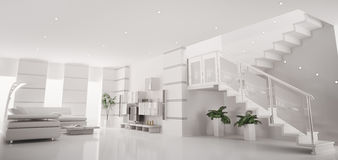 White modern apartment interior panorama 3d render Stock Photos