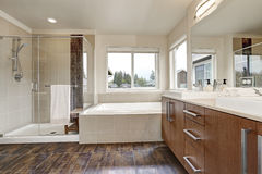 White modern bathroom interior in brand-new house. stock image
