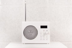White modern bathroom radio Stock Photos