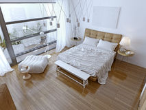 White modern bedroom with brown floor Stock Photos