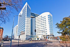 White Modern Building - ICC Building. Multi-blocks Building Connected to Each Other with Aerial Gateways, Seat of the International Criminal Court Stock Photography