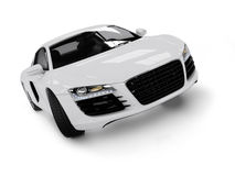 White modern car isolated on black background. Stock Photo