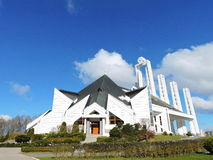 White modern catholic church, Lithuania. Beautiful white catholic church in Elektrenai town, build in 1996 ,  Lithuania Stock Image