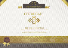 White modern certificate with gold elements Stock Photo