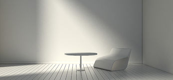 White modern chair and wall in simple living room. 3d or illustration interior. Stock Images
