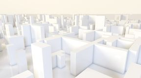White modern city, aerial view. 3D rendering. White modern city, aerial view. 3D design rendering Royalty Free Stock Images