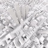 White modern city. Aerial view. 3D rendering Stock Photography
