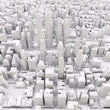 White modern city. Aerial view. 3D rendering Stock Images