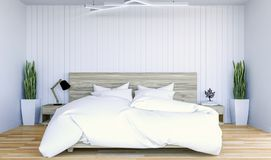 White modern contemporary bedroom interior with copy spce on wall for mock up Royalty Free Stock Photos