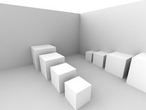 White Modern Cubes Interior Background Stock Image