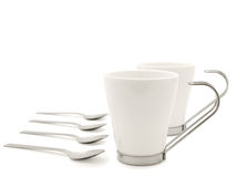 White modern cups and spoons Stock Photo