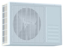 White modern external air conditioner compressor unit Stock Image