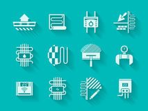 White modern icons for house heating Stock Images
