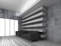White modern interior with black leather sofas. White modern interior background with black leather sofas and empty windows, 3d render illustration stock illustration