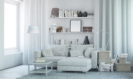White modern interior with decor. 3d render Royalty Free Stock Image