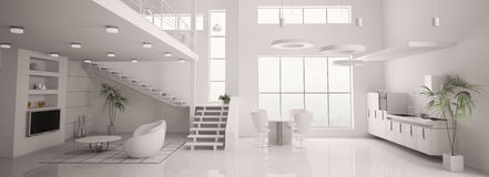 White modern interior panorama 3d render Stock Photos