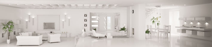 White modern interior panorama 3d render Royalty Free Stock Photography