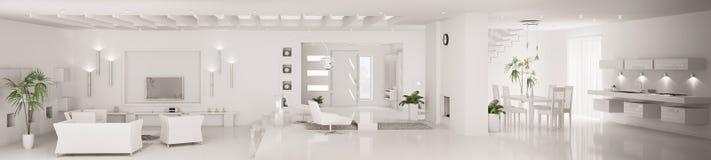 White modern interior panorama 3d render