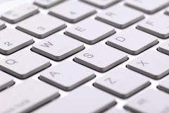 White modern keyboard close-up of buttons Royalty Free Stock Photos