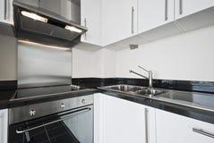 White modern kitchen. With stainless steel appliances Royalty Free Stock Photos
