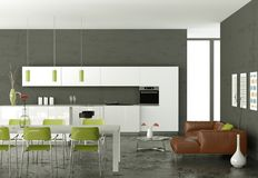 White modern kitchen with dining table and brown leather sofa. 3d Illustration Stock Images