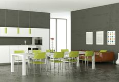 White modern kitchen with dining table and brown leather sofa. 3d Illustration Royalty Free Stock Photos