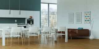 White modern kitchen with dining table and brown leather sofa. 3d Illustration Royalty Free Stock Image