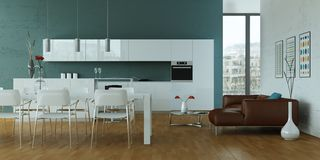 White modern kitchen with dining table and brown leather sofa. 3d Illustration Royalty Free Stock Photography