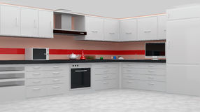 White modern kitchen interior Stock Images