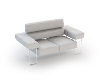White modern Leather Sofa on White Background Stock Photo
