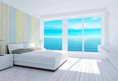 White modern loft bedroom interior with sea view. 3D rendering Stock Photography