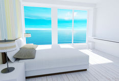 White modern loft bedroom interior with sea view. 3D rendering Royalty Free Stock Photo