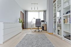 White modern office with desk Stock Images
