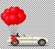 White modern opened cartoon cabriolet car with bunch of red ball. White modern opened cartoon cabriolet car with bunch of red helium heart shaped balloons with Royalty Free Stock Image