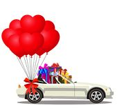 White modern opened cartoon cabriolet car full of gift boxes and. Bunch of red helium heart shaped balloons with festive bow isolated on white background Royalty Free Stock Photo