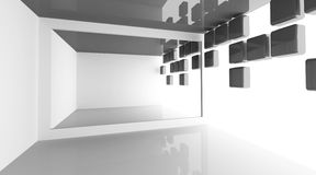White modern room interior with decorated wall. Abstract architecture background with empty white modern room interior with decorated light wall, 3d illustration Royalty Free Stock Photo