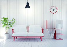 White modern room interior with word Love book shelf for Valentine`s day. 3D rendering stock illustration