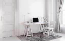 White modern room with  laptop computer on a desk,  home office workspace Stock Images