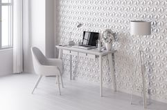 White modern room with  laptop computer on a desk,  home office workspace Royalty Free Stock Photo